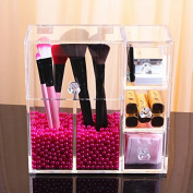 FLYMEI Dust Free Clear Acrylic Makeup Organiser Makeup Brush Holder Jewellery Cosmetic Organiser Display Box With Free Glossy Rosy Pearl