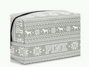 Victoria's Secret Pink Grey Fairisle Makeup Bag