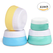 HAL Silicone Cosmetic Containers with Sealed Lids Pack of 4, 20ml and 10ml Assorted - BPA Free, Great for Travel, Home and Outdoor