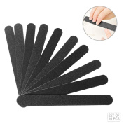 Pro Nail File | Professional 10 Pcs Double Sided Fine Coarse Thick Black 100/180 Grit Buffering Emery Board | Premium Washable EVA and Sand Paper Buffering File for Manicure Pedicure Craft | 1262.2