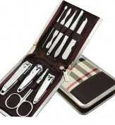 One Set 9pcs Multifunction Stainless Steel Personal Manicure and Pedicure Set Travel Grooming Kit,zipper Box