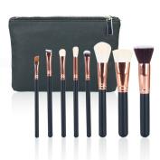 Hotrose 8PCS Pro Makeup Brushes Set Beauty Cosmetic Complete Powder Foundation Eye Cosmetic Brushes Kit + Leather Zipper Brush Case