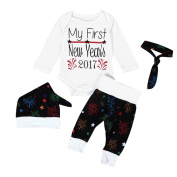 Leegor 4PC Baby Clothes Romper+Pants+Hat+Headband New Year's Outfits Christmas Set