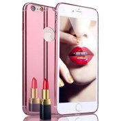 iPhone 6S Plus Case, iPhone 6 Plus Case,PHEZEN Fusion Mirror Bright Reflection Radiant Luxury Electroplated Bumper Slim Hard PC Back Mirror Anti-Scratch Case Cover For iPhone 6/6S Plus 14cm ,Rose Gold