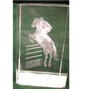 Crystal Weight with Jumping Horse Etching Beautiful detailed etching inside clear crystal.