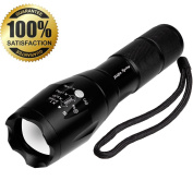 Portable Tactical LED Flashlight/Torch/Handheld Flashlight, Black-900 Lumen CREE XM-L T6 Super Bright Flash Light, Zoomable Waterproof Durable, 5 Modes, Camping Hiking & Fishing Light- By JIAJIA Spring