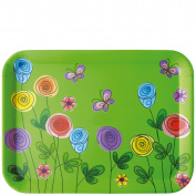 laroom 13952 Table Tray - Flowers and Butterfly, Green