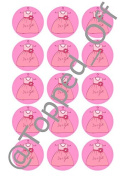 """15 x 2"""" (5cm) pre-cut It's a Girl Dress round fondant icing edible mince pie topper decorations by Topped Off"""