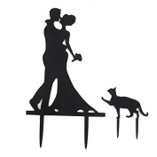 Cmoo6y Acrylic Wedding Engagement Party Cake Toppers Kissing Bride & amp; Groom with Cat Black