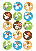 """15 x 2"""" (5cm) pre-cut Easter Bunnies round fondant icing edible mince pie topper decorations by Topped Off"""