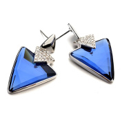 White Gold Plated Triangle Cut AAA Elements Sapphire Blue Crystal Stud Luxury Earrings Fashion Jewellery for Women