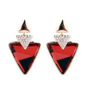 Gold Plated Triangle Cut AAA Elements Ruby Red Crystal Luxury Drop Earrings Fashion Jewellery for Women
