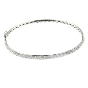1.64 Ct White Gold Women's Pave Diamond Fashion Bangle Bracelet 18 Kt