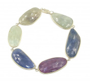 Slice Sapphire Multi-colour Bracelet,14k Yellow Gold 20cm