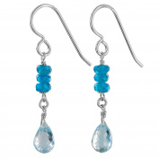 Blue Topaz and Madagascan Blue Apatite Sterling Silver Very Dainty Drop Earrings by Ashanti