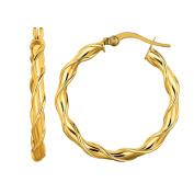 MCS Jewellery 14 Karat Yellow Gold Twisted Round Hoop Earrings