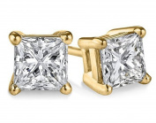 14k Yellow Gold .50ct TDW Princess 4-prong certified Stud Earring