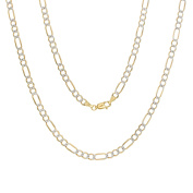 14k White-and-yellow-gold 5 mm Pave Figaro Chain,