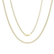 14k White-and-yellow-gold 3 mm Pave Mariner Link Chain,