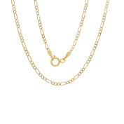 14k White-and-yellow-gold 2 mm Pave Figaro Chain,