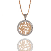 "NANA Shema Pendant 17mm Sterling Silver W/Y/R gold plated, CZs w/0.8mm 22"" Adjustable Box Chain"