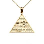 10k Yellow Gold Detailed Eye of Horus Pyramid Pendant Necklace