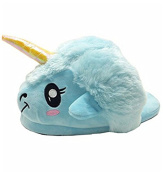 HENGSONG Blue Unicorn Slippers Novelty Animal Home Plush Slippers Super Soft and Comfortable, Adult