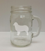 Australian Shepard Breed Pride 470ml Glass Mason Jar - Hand Etched - Made in the USA, Great for gifts