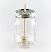 Smith's Mason Jars Lid and Bamboo Honey Dipper x 2