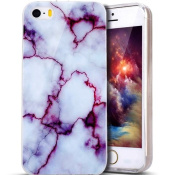 iPhone SE Case, iPhone 5S Case, PHEZEN IMD Purple Marble Pattern IMD Design Cute Creative Anti-Scratch Bumper Ultra Slim TPU Soft Case Rubber Silicone Skin Cover for iPhone SE/5/5S