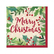 Amscan, Merry Holly Day Beverage Napkins