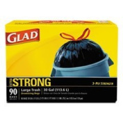GLAD 70313 Drawstring Outdoor 113.6l Trash Bags, 1.05 Mil, 30 x 33, Black (Pack of 90) by Clorox