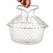 TININNA Foldable Stainless Steel Fry Cooking Chef Basket Mesh Net Strainer Colander for Chips