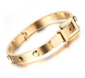 Halo's London Belt Buckle Rivet Stainless Steel Bangle Bracelet