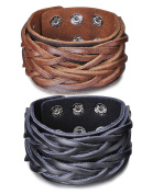 Infinite U Fashion Punk Rock 4cm Wide Genuine Leather Mens Cuff Bracelet Braided Wristband Bangle, Adjustable Size