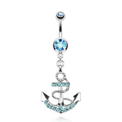 Bling Stars Belly Button Ring Nautical Anchor Gemmed 316L Surgical Steel 14g Dangle Navel Ring
