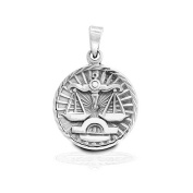 Bling Jewellery 925 Sterling Silver Zodiac Large Disc Pendant