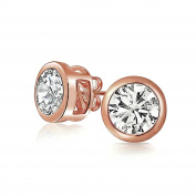 Bling Jewellery 925 Silver Bezel Set Round Cut CZ Unisex Stud Earrings
