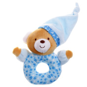 GIFTSHOP101 15cm Sleepy Bear With Hat Soft Plush Baby Rattle - Blue