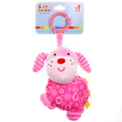 GIFTSHOP101 15cm Cute Dog Soft Plush Baby Rattle With Clips - Hot Pink