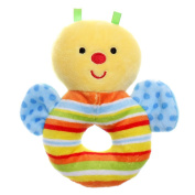 GIFTSHOP101 13cm Cute Bee Soft Plush Baby Rattle - Blue