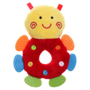 GIFTSHOP101 18cm Cute Bee Soft Plush Baby Rattle With Multi Colour Teether - Red