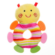 GIFTSHOP101 18cm Cute Bee Soft Plush Baby Rattle With Multi Colour Teether - Muilt Colour