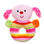 GIFTSHOP101 13cm Cute Dog Soft Plush Baby Rattle - Pink