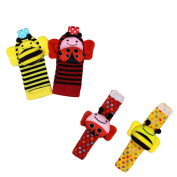 Acefun 4PCS Animal Baby Wrist Rattles and Foot Finder Set Developmental Soft Toys - Bee and Ladybug