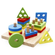 Lewo Wooden Shapes Sorter Toys Educational Preschool Geometric Stacking Block Puzzles Games