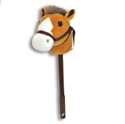 Linzy Hobby Horse, Stick Horse Tan with Galloping Sounds and a Telescopic Stick 90cm