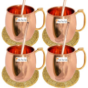 Set of 4 - Prisha India Craft Pure Copper Moscow Mules Copper Mug with Thumb Handle 400 ML / 13.5 oz - Cocktail Cup - Christmas Gift Bonus with WOODEN KEYRING, Copper Straw, Beaded Coaster