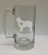 Australian Shepard Love 710ml Glass Stein - Hand Etched - Made in the USA, Great for gifts