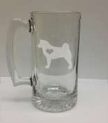 Akita Love 710ml Glass Stein - Hand Etched - Made in the USA, Great for gifts
